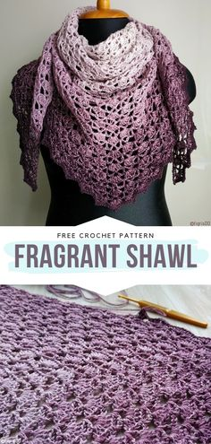 How to Crochet Fragrant Shawl Fragrant Shawl Free Crochet Pattern We certainly love the combination of different shades of violet It reminds us of lavender fields and makes the shawl Crochet Pattern Free, One Skein Crochet, Crochet Shawl Free, Crochet Diy, Crochet Shawls And Wraps, Crochet Scarves, Crochet Clothes, Crochet Scarf Patterns, Knit Shawls