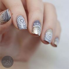 Mandala nails using Mandala Collection plate If you enjoy stamping videos as much as I do, I also just uploaded a video… Nail Stamping Designs, Stamping Nail Art, Gel Nail Art, Nail Art Designs, Moyou Stamping, Crazy Nails, Love Nails, Gorgeous Nails, Pretty Nails