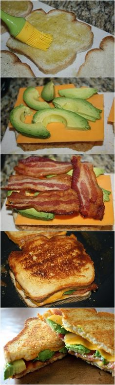 Bacon Avocado Grilled Cheese (Make it healthy by using whole grain bread, vegetarian bacon & swiss instead)