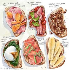 food drawing Healthy toast Ideas by Culinary Illustrator Amber Day Recipe Drawing, Watercolor Food, Watercolour Painting, Food Sketch, Food Painting, Painting Art, Food Journal, Food Drawing, Aesthetic Food