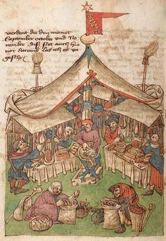 Cover market Germany 1430-1480 Württemberg Tübinger Hausbuch - Md 2.f.Md2_00029v_korr Manuscrit d'astrologie, il s'agit d'une allégorie