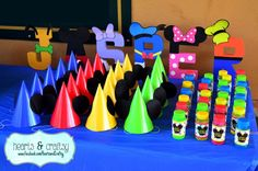 Party hats at a Mickey Mouse Clubhouse birthday party! See more party planning ideas at CatchMyParty.com!