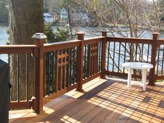 Craftsman Style Deck Railing  many Deck Railing Ideas http://awoodrailing.com/2014/11/16/100s-of-deck-railing-ideas-designs/
