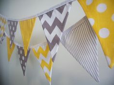 Yellow, Grey and White, Chevron, Stripe and Polka Dot Fabric Bunting/ Flag Banner - 12 Flags on Etsy, $32.00 AUD
