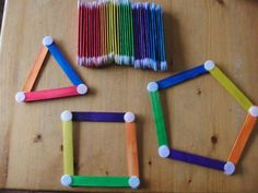 GEOMETRÍA Preschool Learning Activities, Color Activities, Fun Math, Educational Activities, Toddler Activities, Preschool Activities, Craft Stick Crafts, Crafts For Kids, Busy Boxes