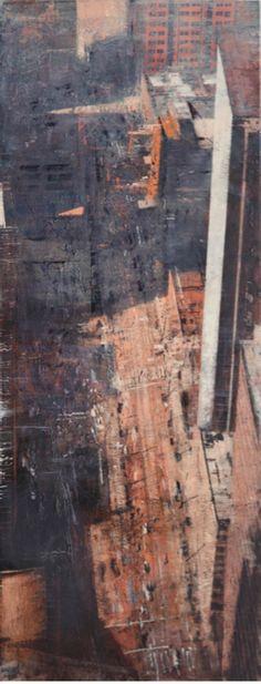 Oeuvres récentes : Alejandro Quincoces à la Galerie Arcturus.  Perspectiva de una calle con luces y sombres, Huile sur bois, 170 x 165 cm. (c) Alejandro Quincoces