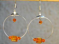 Boucles d'oreilles créoles orange