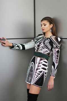 """Balmain x H&M Dress and Belt   """"EXCLUSIVE LOOK AT THE H&M X BALMAIN COLLECTION""""  Read More on www.routelondonnewyork.com"""