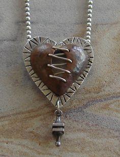 RARE THOMAS MANN TECHNO ROMANTIC STERLING SILVER COPPER HEART PENDANT NECKLACE #ThomasMann #Pendantnecklace