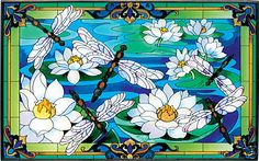 DRAGONFLY WATERLILY * 16X10 STAINED GLASS SUNCATCHER | eBay