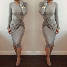 Women's Fashion Sexy Solid Gary Waist Fold Slim Fit Irregular Casual Bodycon Dress