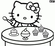 Hello Kitty and the cupcakes coloring page