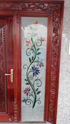 House Main Door Design, Wooden Front Door Design, Pooja Room Door Design, Bathroom Window Glass, Window Glass Design, Indian Main Door Designs, Glass Corner Shelves, Etched Glass Door, Ganesha Tattoo