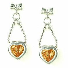 Bow Knot and Bead Chain with Bezel Heart Yellow CZ Drop Stud Earrings le Jane. $17.00