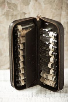Vintage vials in Leather Medicine Case: Doctors used to carry these in their…
