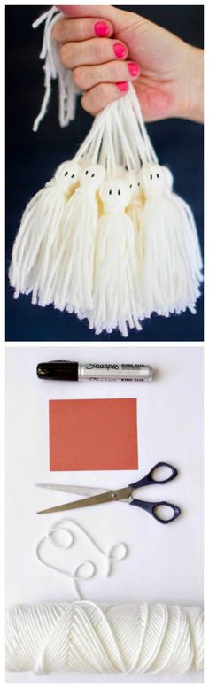 How To Make Ghost Tassels ~ You probably have all of these supplies already and if not, they are not hard to come by.