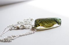 Real leaf necklace in resin pressed leaf by NThandmadeJewelry, $22.99