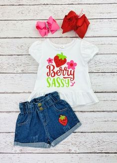 """Puff sleeve ruffled """"Berry Sassy"""" t-shirt, paired with elastic-waist, wide-legged denim shorts with an embroidered strawberry applique. Any accessories shown are not included. #strawberry #sassy #denimshorts #cuteclothes #kidsfashion Cute Girl Outfits, Trendy Outfits, White Tees, Sassy, Elastic Waist, Applique, Denim Shorts, Strawberry, Sleeve"""
