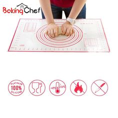 BAKINGCHEF 2 PCS/set Large+Small Silicone Baking Mat Pizza Dough Maker Pastry Kitchen Gadgets Cooking Utensils Bakeware Supplies