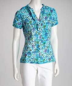 Take a look at this Blue Atoll Flower Top by BOLD & BEAUTIFUL on #zulily today! $9.99, regular 15.00
