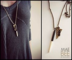 NEW Bone and Brass Quill Spike Long Chain by JewelryByMaeBee