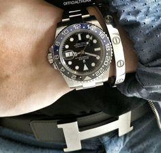 Hermes belt, Cartier Love bracelet and Rolex GMT                              …