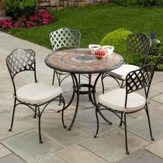 "Alfresco Home Asti Indoor Outdoor Marble Mosaic Bistro 4-Seat Dining Set by Alfresco Home. $1119.00. Wrought Iron Frames are E-coated with a powder coat paint to provide a weather proof, rust resistant finish. Chairs come fully welded with an  outdoor rated acrylic cushion that is water and fade resistant. Table top: 36"" L x 36"" W; Base: 30"" W x 30"" L x 28.75"" H; Chairs: 18"" L x 18"" W x 36"" H. Hand Set Marble Mosaic Tiles are from natural sources including marble, slate ..."