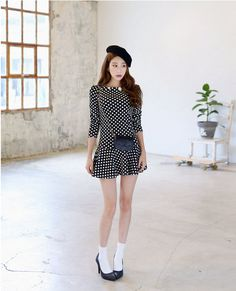 All Korean Fashion items up to 70%OFF! #rufflehemminidress #minidress #dress #dottedminidress #dotteddress
