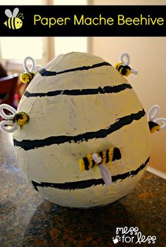 Paper Mache Beehive - Delight your kids with the fun of paper mache by making this beehive for play or as a Halloween costume accessory #pbkHalloween #sponsored
