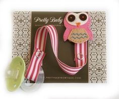 Pink Owl Pacifier Clip  Owl Pacifier Clip  by PrettyBabyBowtique, $8.95