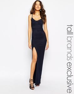 True Decadence Tall Mesh Insert Maxi Dress With Thigh Split