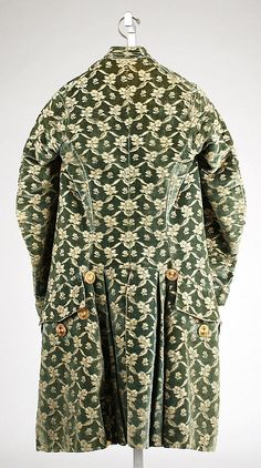 Suit back Date: 1760–80 Culture: French Medium: silk Dimensions: Length (a): 39 in. (99.1 cm) Length at Side Seam (b): 23 1/2 in. (59.7 cm) Length at CB (c): 27 in. (68.6 cm)