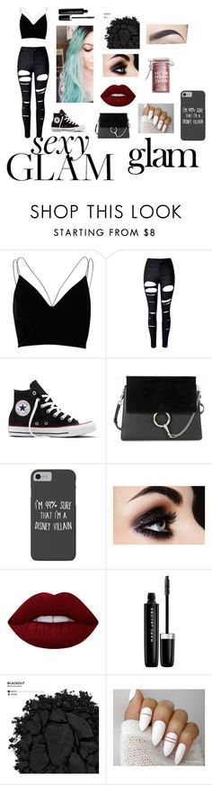 """Outcast In A Bitchy Ass Party"" by anitacookiemonster129-1234 on Polyvore featuring beauty, Naeem Khan, River Island, WithChic, Converse, Chloé, Disney, Lime Crime, Marc Jacobs and Urban Decay"