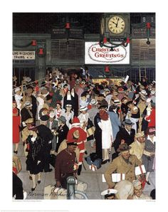 Union Station, Chicago, Christmas - Norman Rockwell