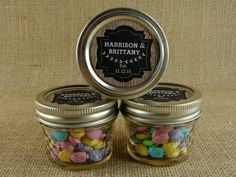 Personalized Mason Jar Wedding Favors - Burlap and Chalkboard Design - 20 4 oz. Mason Jelly Jars