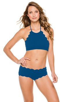 aafafcd39c Mott high neck halter top with scalloped edge. Ties at neck and clips at  back