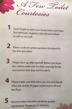 Etiquette Rules | ... , but I feel we need clarification of 'general toilet etiquette