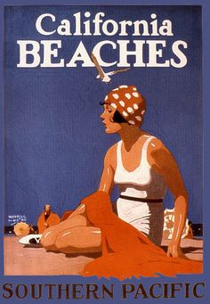 CALIFORNIA-BEACH-SAN-FRANCISCO-GIRL-UMBRELLA-SOUTH-VINTAGE-POSTER-REPRO-LARGE