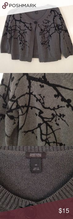 """KENNETH COLE REACTION crop sweater Loving this little beauty.  Kenneth Cole Reaction grey crop sweater with a branch and berry pattern.💗💗One button closure and 3/4 sleeves. Approx 16.5"""" long and 17"""" wide. Kenneth Cole Reaction Sweaters"""
