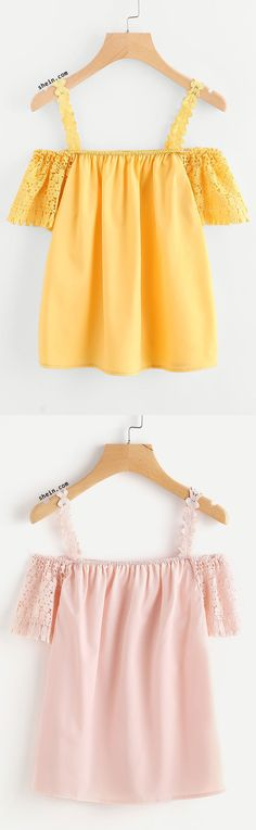 Crochet Fringe Sleeve Open Shoulder Top