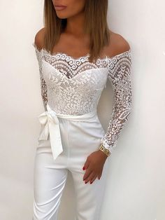 Eyelash Lace Patchwork Belted Wide Leg Jumpsuit - Jumpsuits and Romper Mode Outfits, Fashion Outfits, 70s Fashion, Korean Fashion, Fashion Tips, White Pantsuit, White Lace Jumpsuit, Wedding Jumpsuit, Prom Jumpsuit