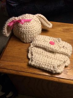 Lamb Hat with matching diaper cover.