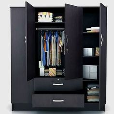 This wardrobe gives you loads of space to play with and organise your items at a whim! 4 Door Wardrobe, Wardrobe Design Bedroom, Wardrobe Cabinets, Closet Bedroom, Small Living Room Design, Living Room Designs, Home Design, Bedroom Furniture, Furniture Design
