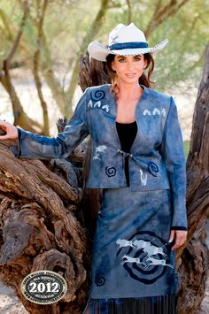 Meredith Lockhart Denim Blue Distressed Lambskin Jacket and Skirt. Photography by Laura McClure. Cow Girl, Gaucho, Cowboy Cafe, Rodeo Girls, Cowgirl Style, Western Style, Rodeo Queen, New West, Country Girls