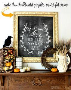 Fall Harvest Chalkboard Mantel