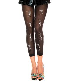 This Black Sheer Dancing Skeleton Footless Capri Tights by Music Legs is perfect! #zulilyfinds