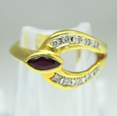 Vintage 18K Gold Ruby & Diamond Abstract Cocktail Ring Size 6