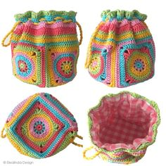 Anleitung im Shop: www.elealinda-des … - My CMS Crochet Handbags, Crochet Purses, Crochet Crafts, Crochet Projects, Crochet Drawstring Bag, Knitting Patterns, Pouch Pattern, Knitted Bags, Double Crochet