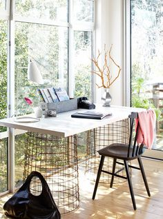 DIY DESK-Metal Baskets for Legs and a great Wooden Top = Perfect!