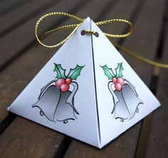 Christmas gift boxes pyramid shape by NewCreatioNZ on Etsy, $6.00